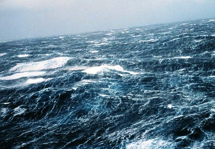 North Pacific Ocean waves caused by storms