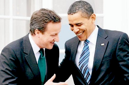 David Cameron and Barak Obama could hold their expressions no longer