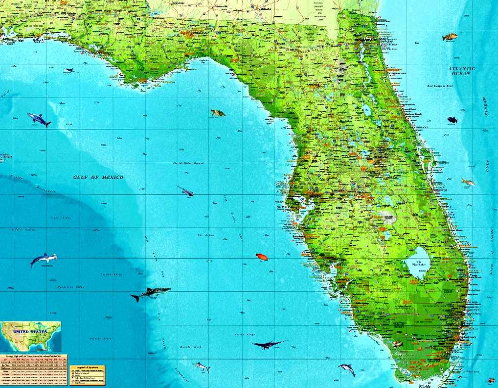 Florida Ocean Map Deboomfotografie - Map usa with oceans