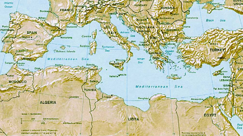 Mediterranean Sea - Map of Europe and North Africa