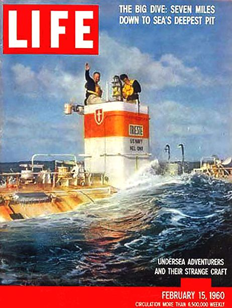 TRIESTE BATHYSCAPHE MARIANA TRENCH JACQUES PICCARD DON WALSH