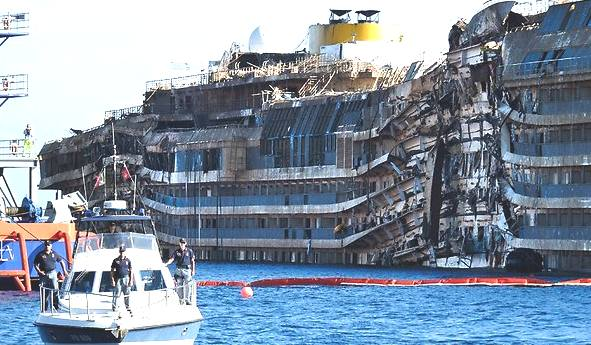 RAISING OF THE COSTA CONCORDIA MARINE SALVAGE OPERATIONS ITALY - Carnival cruise ship that broke down